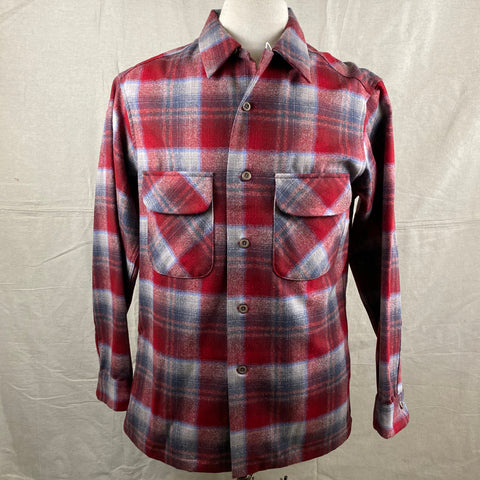 Front View of Vintage Red/Blue Pendleton Board Shirt SZ M