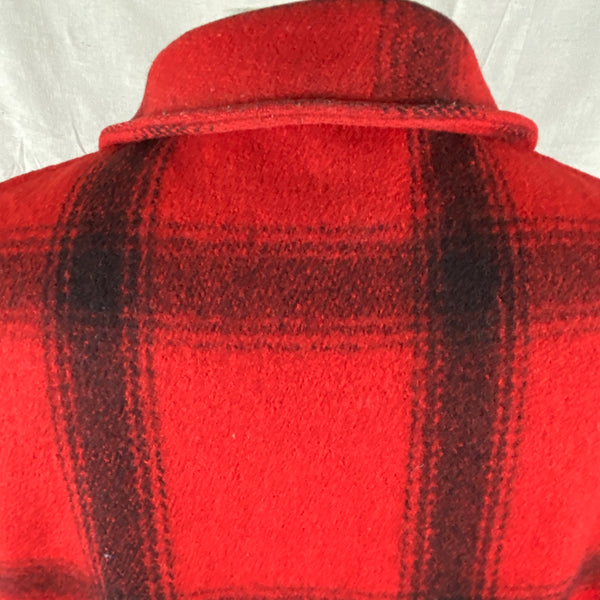 Rear Collar View on Vintage Union Made 75% Red Filson Hunter Wool Coat Style 85