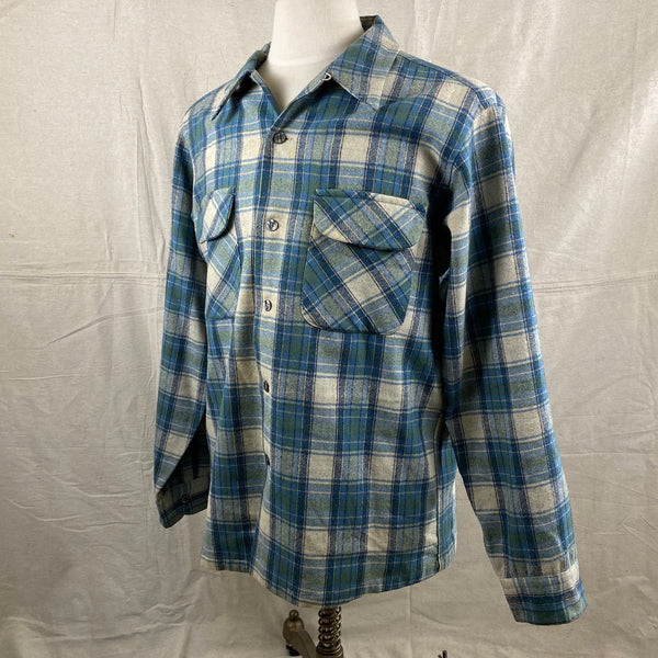 Left Angle View of Vintage Pendleton Blue/Green Plaid Wool Flannel Shirt SZ L