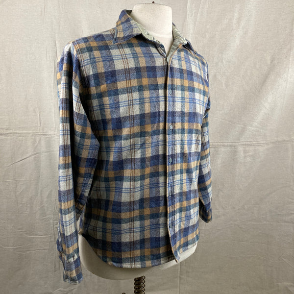 Right Angle View of Vintage Pendleton Blue/Grey Plaid Wool Flannel Shirt SZ M