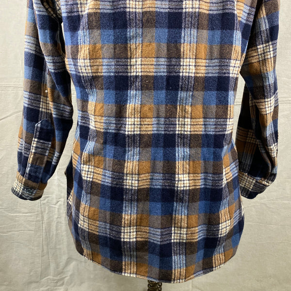 Lower Rear View of Vintage Pendleton Plaid Wool Flannel Shirt SZ 16 1/2