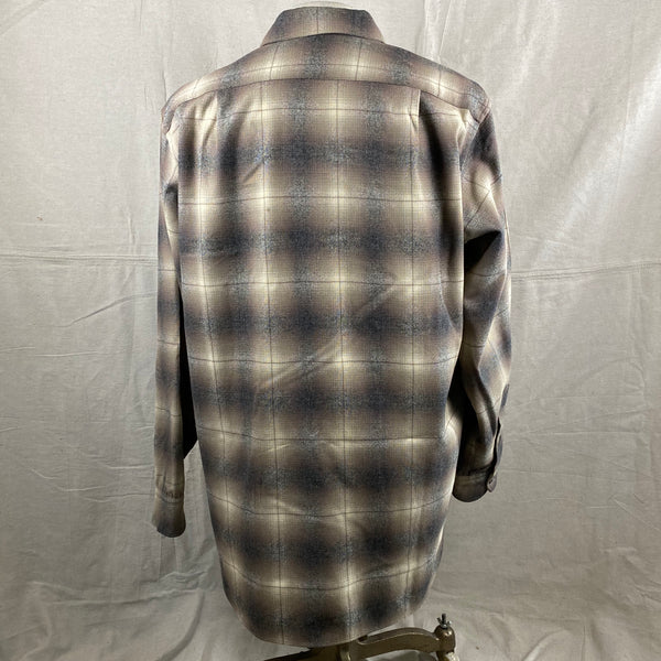 Rear View of Vintage 50s/60s Era Pendleton Shadow Plaid Wool Flannel Shirt SZ 17