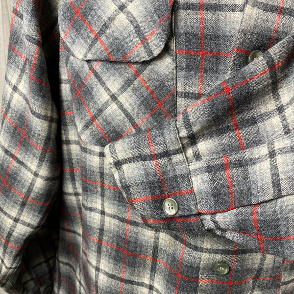 Left Cuff View of Vintage Pendleton Grey & Red Plaid Wool Board Shirt SZ M