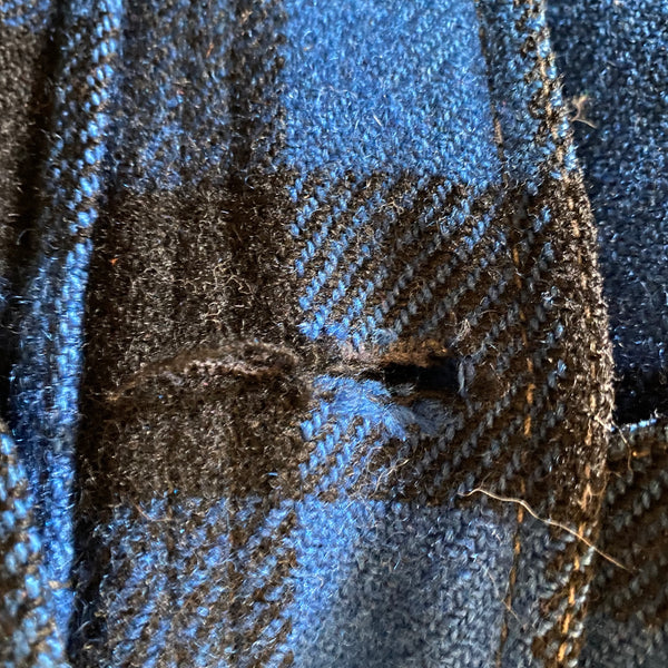 Button Hole Damage #3 on Vintage Union Made Cobalt Filson Mackinaw