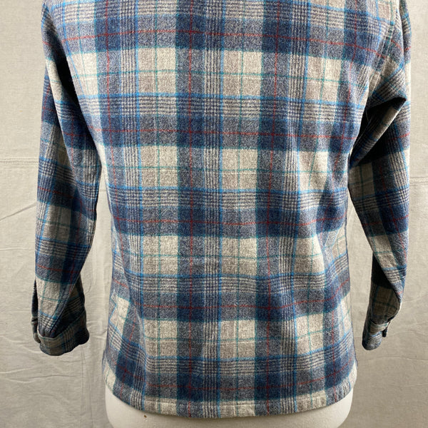 Lower Rear View of Vintage Blue/Grey/Red Pendleton Board Shirt SZ M