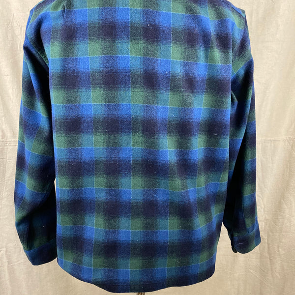 Lower Rear View on Vintage Pendleton Blue & Green Shadow Plaid Wool Board Shirt SZ XL