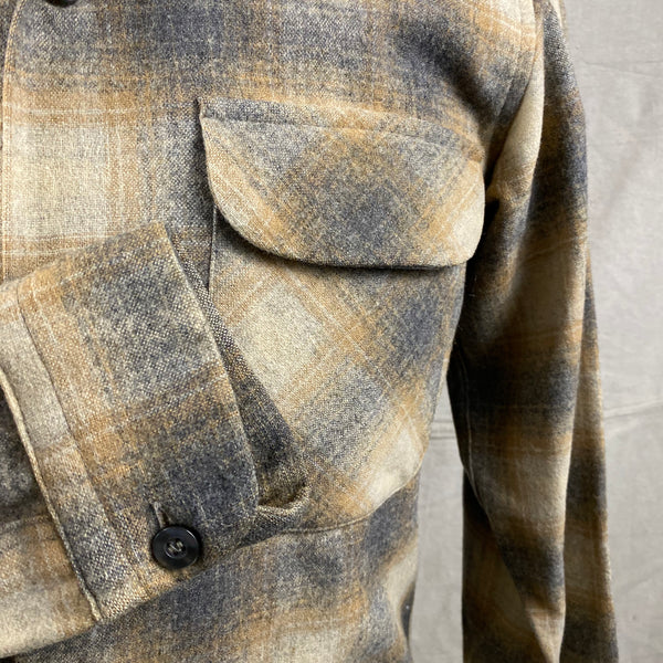 Right Cuff View of Vintage Pendleton Grey & Tan Shadow Plaid Wool Board Shirt SZ S