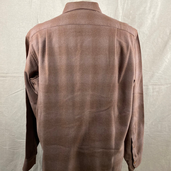 Rear View on Vintage 50s/60s Era Brown Pendleton Shadow Plaid Wool Flannel Shirt SZ 17
