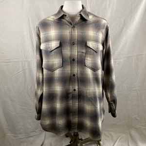 Front View of Vintage 50s/60s Era Pendleton Shadow Plaid Wool Flannel Shirt SZ 17
