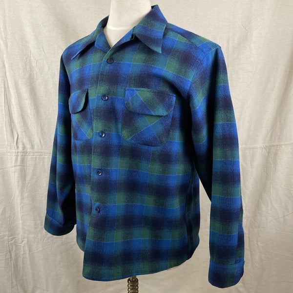 Left Angle View on Vintage Pendleton Blue & Green Shadow Plaid Wool Board Shirt SZ XL
