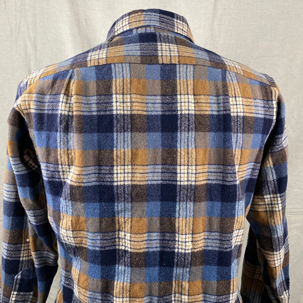 Upper Rear View of Vintage Pendleton Plaid Wool Flannel Shirt SZ 16 1/2