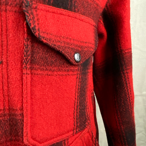 Enameled Snaps on Vintage Union Made 75% Red Filson Hunter Wool Coat Style 85