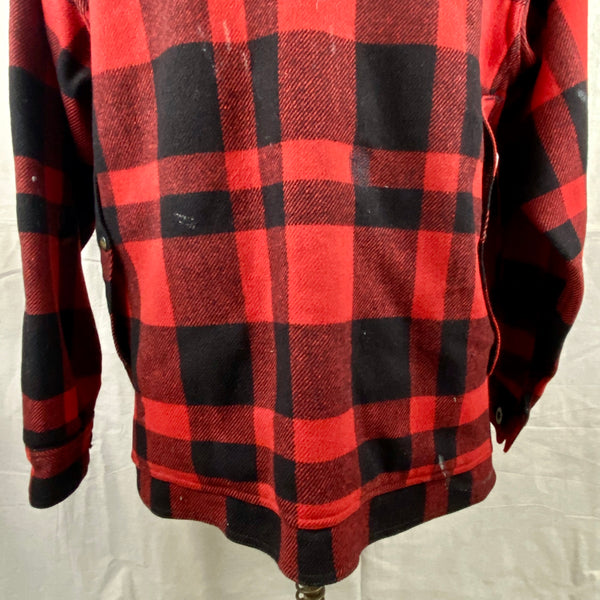 Lower Rear View on Vintage Union Made Filson Mackinaw Wool Cruiser Red and Black Buffalo Plaid