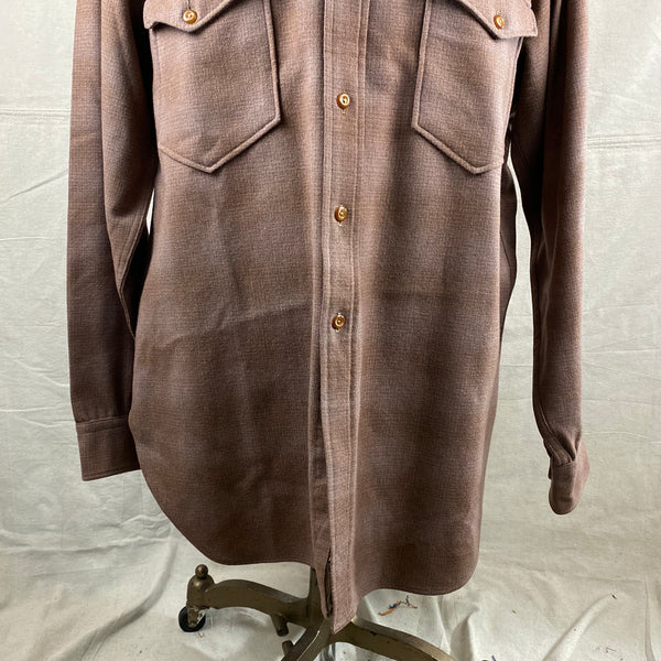 Lower Front View of Vintage 50s/60s Era Brown Pendleton Shadow Plaid Wool Flannel Shirt SZ 17