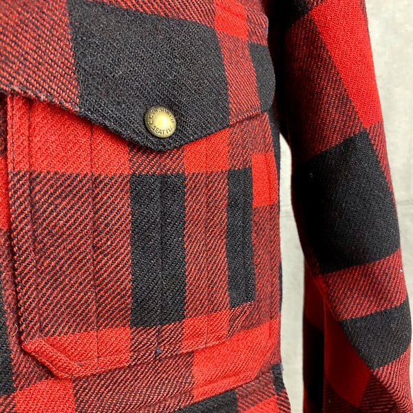 Left Upper Pocket View on Vintage Union Made Filson Mackinaw Wool Cruiser Red and Black Buffalo Plaid