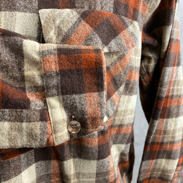 Right Cuff View of Vintage Brown & Tan Pendleton Board Shirt SZ L
