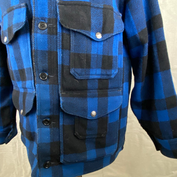 Left Pocket View on Vintage Union Made Cobalt Filson Mackinaw