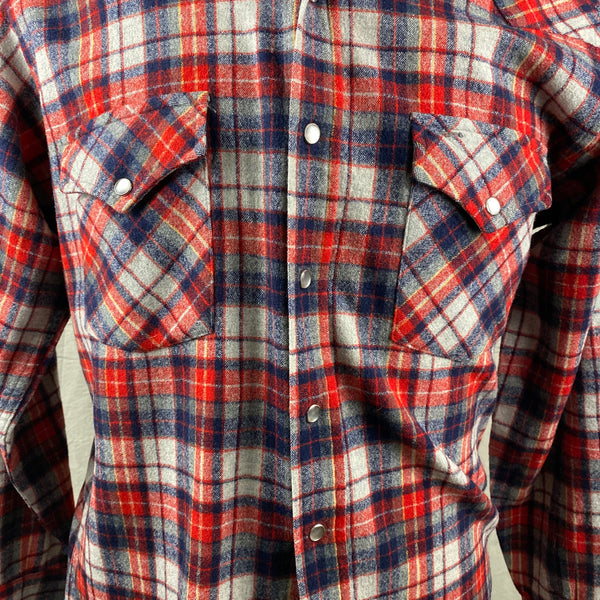 Chest View of Vintage Pendleton Red & Blue Plaid High Grade Western Wear Flannel Shirt SZ L