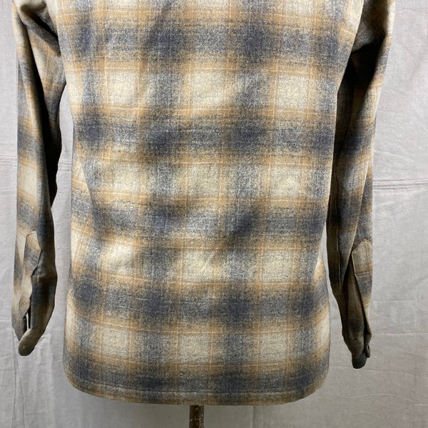 Lower Rear View of Vintage Pendleton Grey & Tan Shadow Plaid Wool Board Shirt SZ S