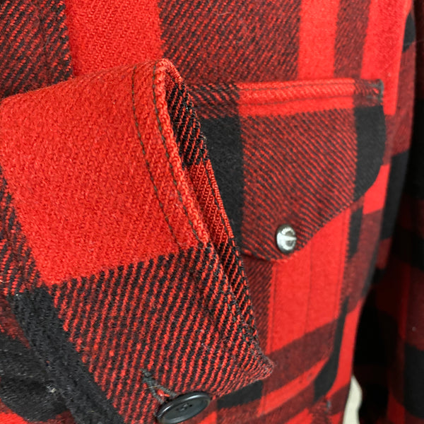 Right Cuff View of Union Made Buffalo Plaid Filson Mackinaw Cruiser