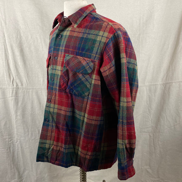 Left Angle View of Pendleton Red Blue & Green Plaid Wool Board Shirt SZ XL