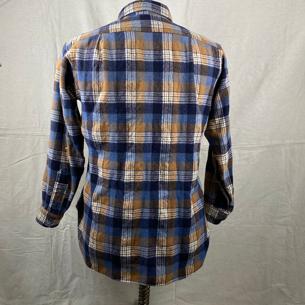 Rear View of Vintage Pendleton Plaid Wool Flannel Shirt SZ 16 1/2