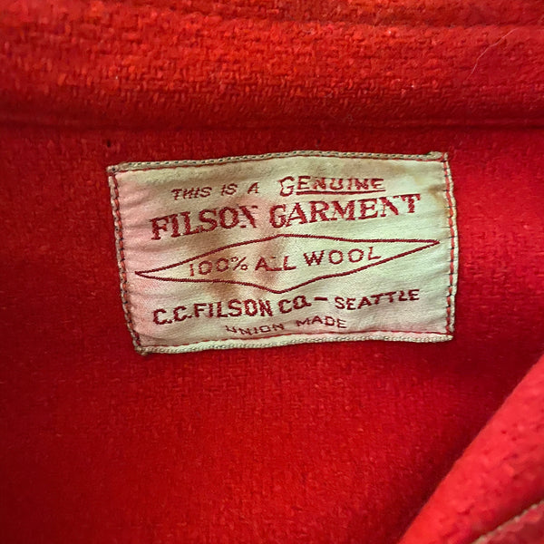 Filson Union Made Tag on Vintage Union Made Filson Scarlet Cruiser Debossed Buttons