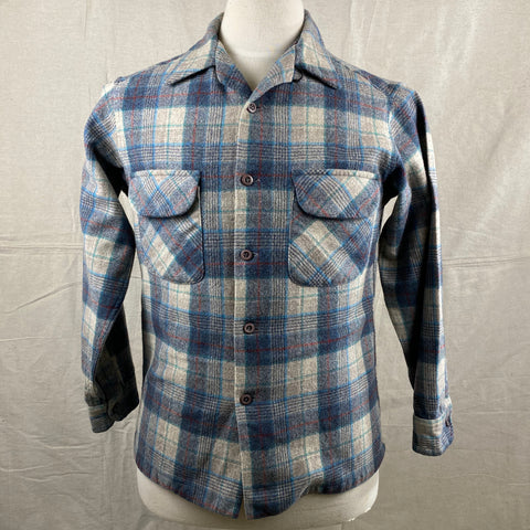 Front View of Vintage Blue/Grey/Red Pendleton Board Shirt SZ M
