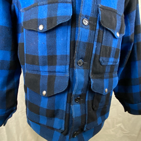 Right Pocket View on Vintage Union Made Cobalt Filson Mackinaw