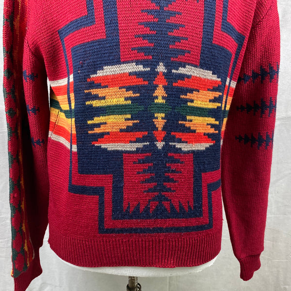 Lower Front Chest View of Vintage Pendleton High Grade Western Wear Wool Sweater SZ L