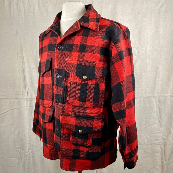 Left Angle View on Vintage Union Made Filson Mackinaw Wool Cruiser Red and Black Buffalo Plaid