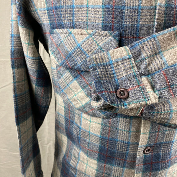 Left Cuff View on Vintage Blue/Grey/Red Pendleton Board Shirt SZ M