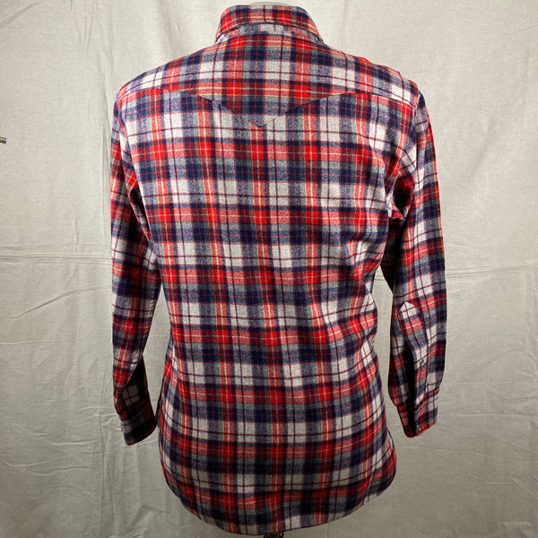 Rear View of Vintage Pendleton Red & Blue Plaid High Grade Western Wear Flannel Shirt SZ L
