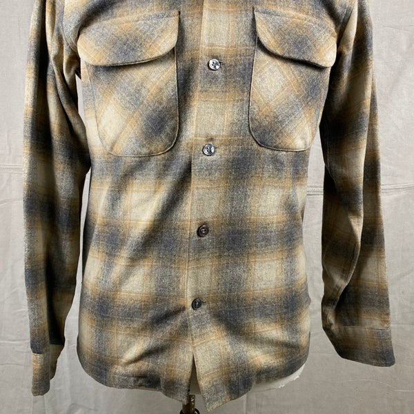 Lower Chest View of Vintage Pendleton Grey & Tan Shadow Plaid Wool Board Shirt SZ S
