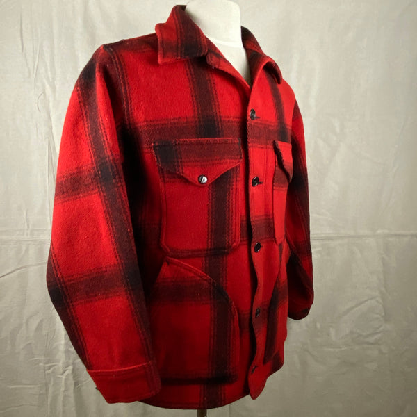 Right Angle View of Vintage Union Made 75% Red Filson Hunter Wool Coat Style 85