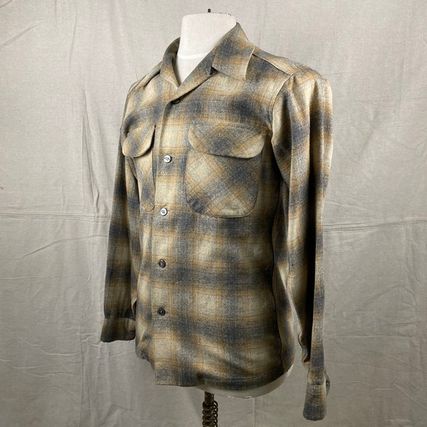 Left Angle View of Vintage Pendleton Grey & Tan Shadow Plaid Wool Board Shirt SZ S