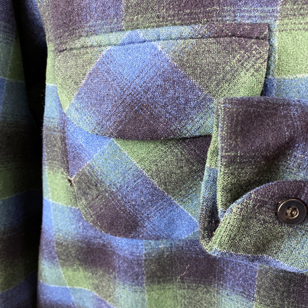 Left Cuff View on Vintage Pendleton Blue & Green Shadow Plaid Wool Board Shirt SZ XL