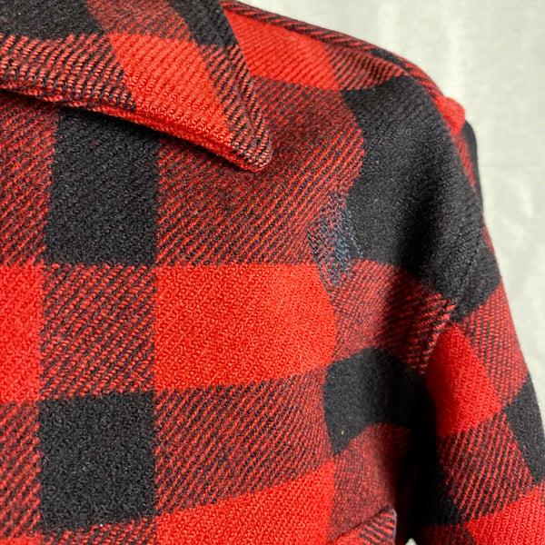 Left Shoulder Repair on Vintage Union Made Filson Mackinaw Wool Cruiser Red and Black Buffalo Plaid