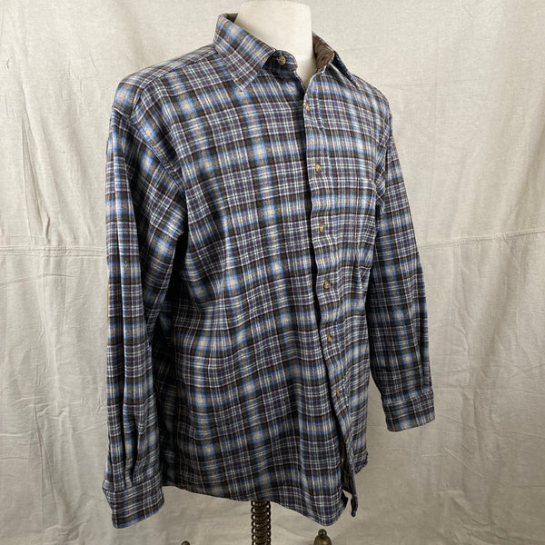 Right Angle View of Pendleton Blue & Brown Trail Shirt SZ L
