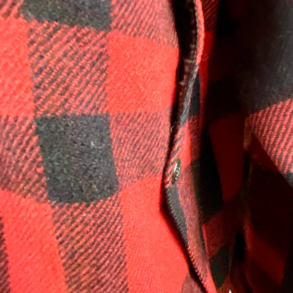 Lower Right Map Pocket View on Vintage Union Made Filson Mackinaw Wool Cruiser Red and Black Buffalo Plaid