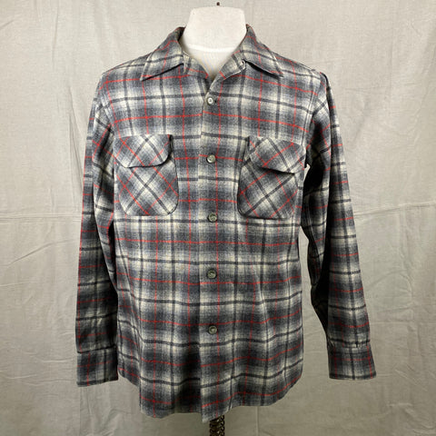 Front View of Vintage Pendleton Grey & Red Plaid Wool Board Shirt SZ M