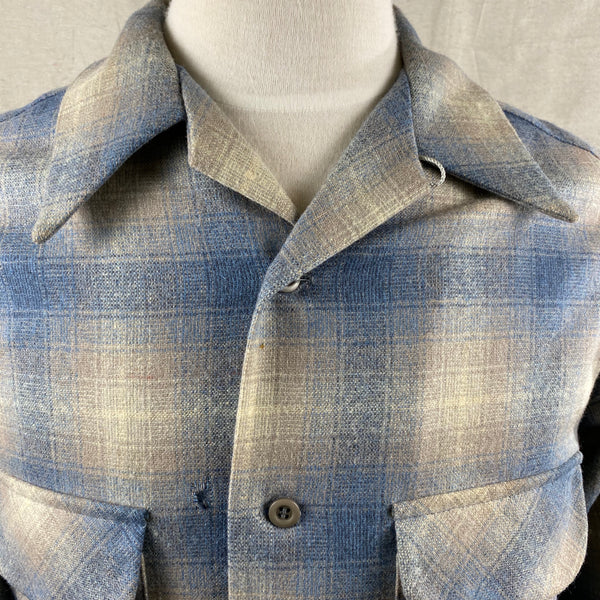 Upper Collar View on Vintage Blue/Tan Pendleton Shadow Plaid Board Shirt SZ M