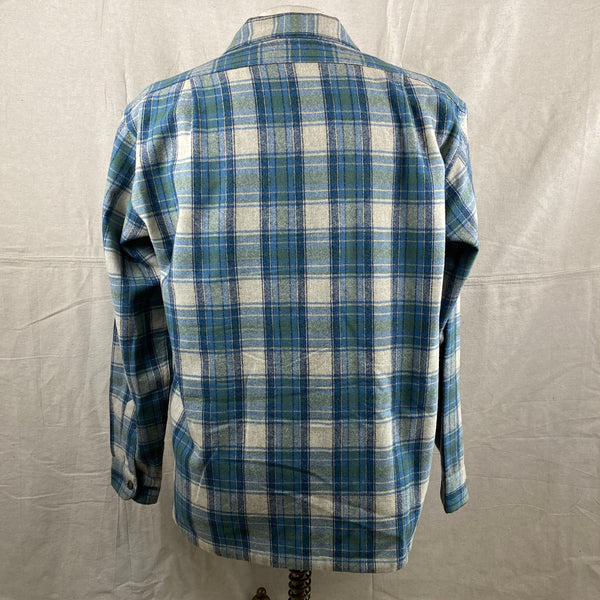 Rear View of Vintage Pendleton Blue/Green Plaid Wool Flannel Shirt SZ L