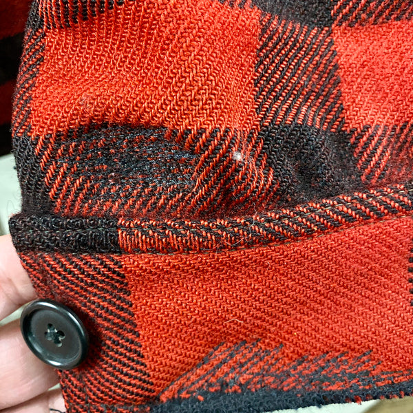 Close Up of Darning on Cuffs on Vintage 40's/50's Era Union Made Filson Wool Mackinaw
