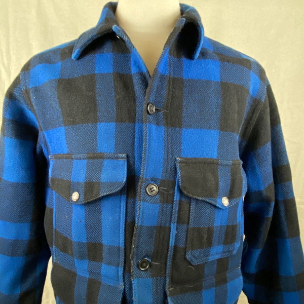 Upper Chest View of Vintage Union Made Cobalt Filson Mackinaw