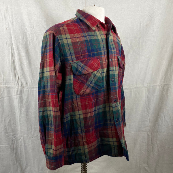 Right Angle View of Pendleton Red Blue & Green Plaid Wool Board Shirt SZ XL