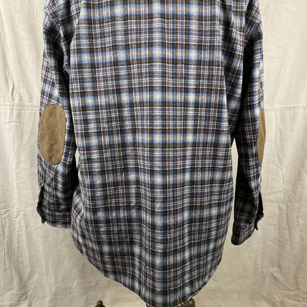 Lower Rear View on Pendleton Blue & Brown Trail Shirt SZ L