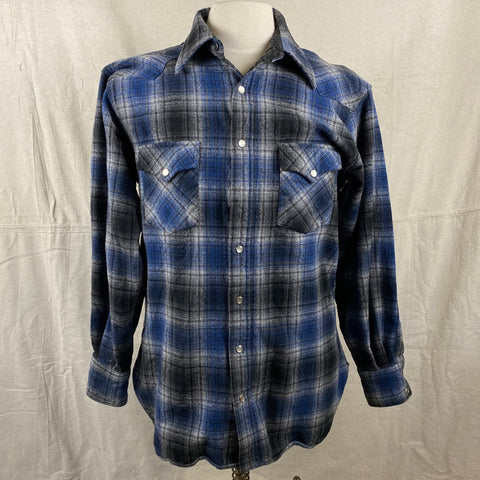 Pendleton Blue & Grey High Grade Western Wear Flannel Shirt SZ L Long