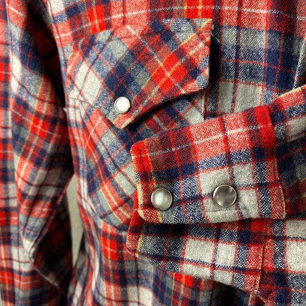 Left Cuff View of Vintage Pendleton Red & Blue Plaid High Grade Western Wear Flannel Shirt SZ L