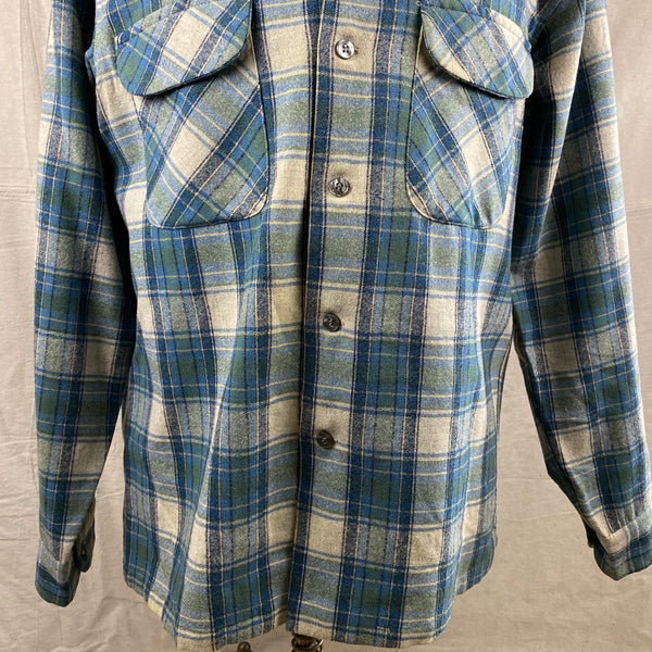 Lower Front View of Vintage Pendleton Blue/Green Plaid Wool Flannel Shirt SZ L